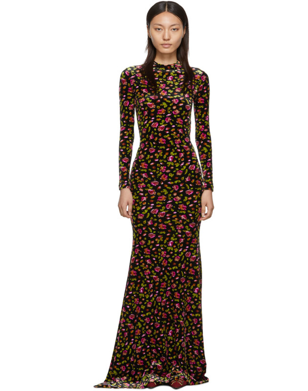 photo Black Velvet Evening Long Dress by Balenciaga - Image 1
