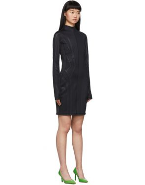 photo Black Scuba Turtleneck Dress by Mugler - Image 2