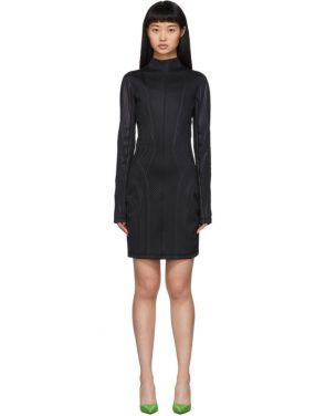 photo Black Scuba Turtleneck Dress by Mugler - Image 1