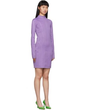 photo Purple Scuba Turtleneck Dress by Mugler - Image 2