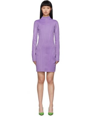 photo Purple Scuba Turtleneck Dress by Mugler - Image 1