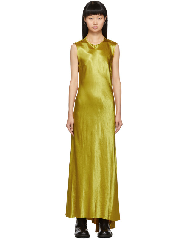 photo Yellow Keyhole Dress by Ann Demeulemeester - Image 1