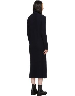 photo Navy Wool Side Button Turtleneck Dress by Marni - Image 3