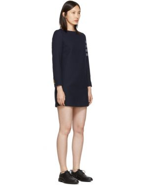 photo Navy Mini Shift 4-Bar Long Sleeve Dress by Thom Browne - Image 2