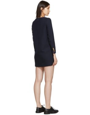 photo Navy Mini Shift 4-Bar Long Sleeve Dress by Thom Browne - Image 3