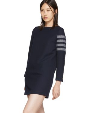 photo Navy Mini Shift 4-Bar Long Sleeve Dress by Thom Browne - Image 4