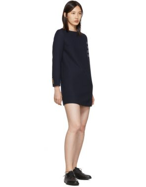photo Navy Mini Shift 4-Bar Long Sleeve Dress by Thom Browne - Image 5