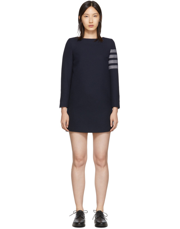 photo Navy Mini Shift 4-Bar Long Sleeve Dress by Thom Browne - Image 1