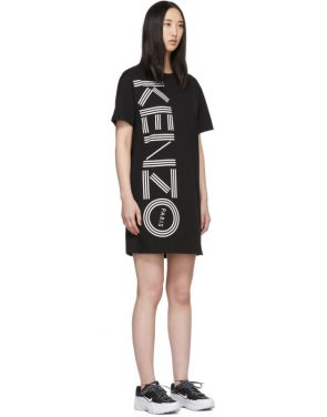 photo Black Logo T-Shirt Dress by Kenzo - Image 2