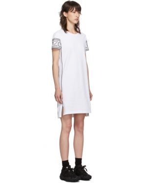 photo White Short Logo Sport T-Shirt Dress by Kenzo - Image 2