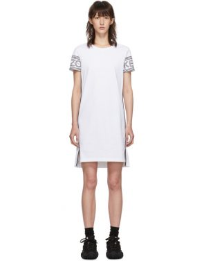 photo White Short Logo Sport T-Shirt Dress by Kenzo - Image 1