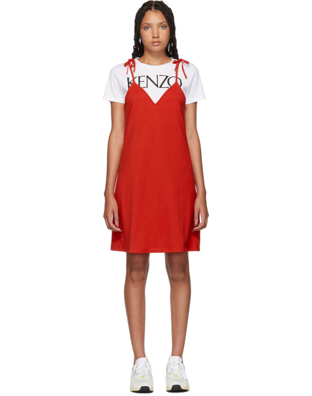 photo Red T-Shirt Mini Dress by Kenzo - Image 1