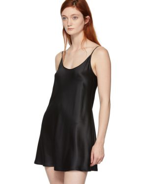 photo Black Silk Short Slip Dress by La Perla - Image 4