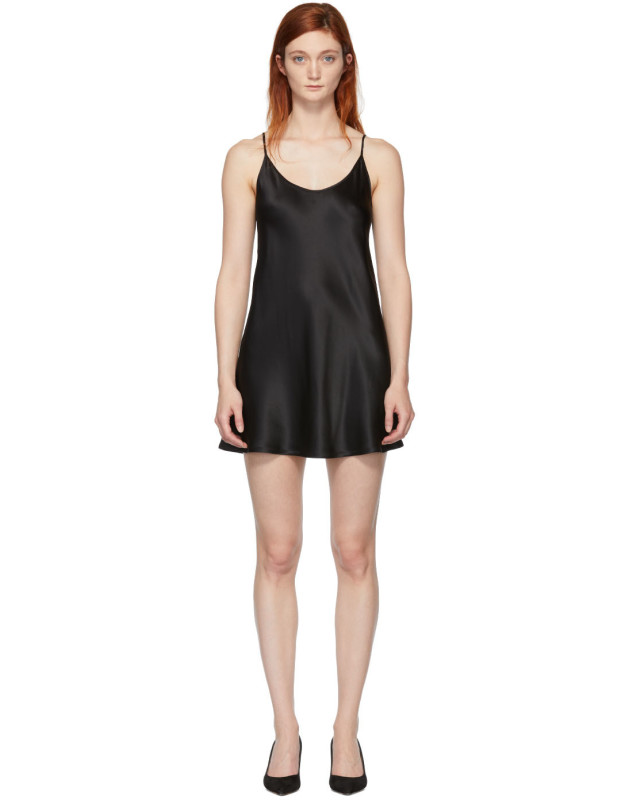 photo Black Silk Short Slip Dress by La Perla - Image 1