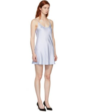photo Blue Silk Short Slip Dress by La Perla - Image 2