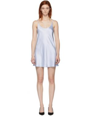photo Blue Silk Short Slip Dress by La Perla - Image 1