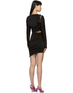 photo Black Draped Safety Pin Dress by Versace - Image 3