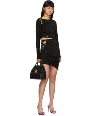 photo Black Draped Safety Pin Dress by Versace - Image 5