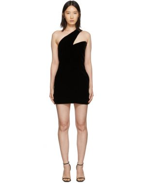 photo Black One-Shoulder Velvet Short Dress by Saint Laurent - Image 1