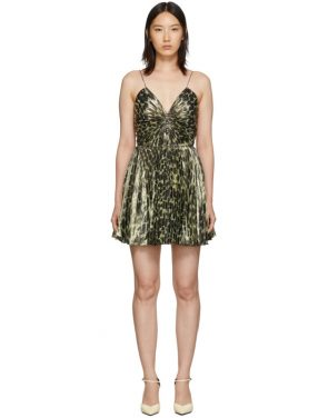 photo Gold Leopard Metallic Pleated Short Dress by Saint Laurent - Image 1