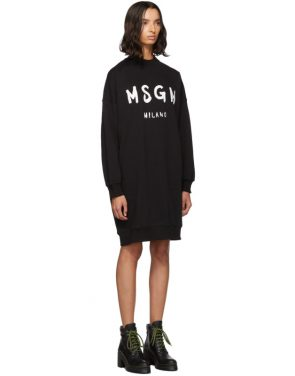 photo Black Fleece Brushstroke Logo Dress by MSGM - Image 2