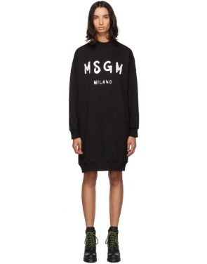 photo Black Fleece Brushstroke Logo Dress by MSGM - Image 1