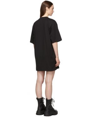 photo Black Paint Brushed Logo T-Shirt Dress by MSGM - Image 3