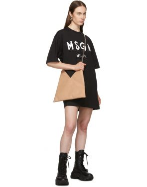 photo Black Paint Brushed Logo T-Shirt Dress by MSGM - Image 5