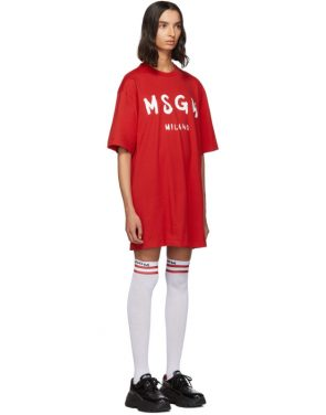 photo Red Paint Brushed Logo T-Shirt Dress by MSGM - Image 2