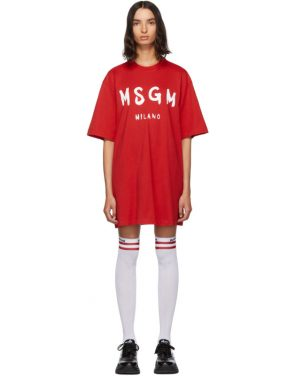 photo Red Paint Brushed Logo T-Shirt Dress by MSGM - Image 1