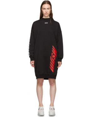 photo Black Fleece Multi Logo Dress by MSGM - Image 1
