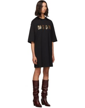 photo Black Sequinned Logo T-Shirt Dress by MSGM - Image 2