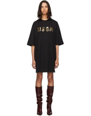 photo Black Sequinned Logo T-Shirt Dress by MSGM - Image 1