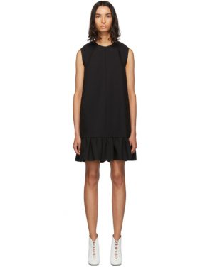 photo Black Double Layer Cady Crepe Dress by MSGM - Image 1