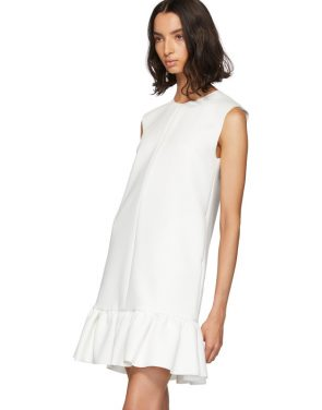 photo White Double Layer Cady Crepe Dress by MSGM - Image 4