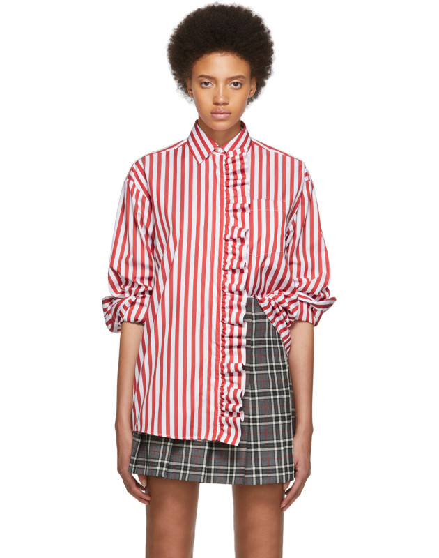 photo Red and White Stripe Shirt Dress by MSGM - Image 1