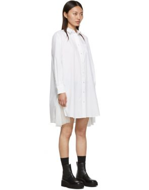 photo White Cotton Poplin Dress by Sacai - Image 2