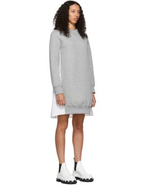 photo Grey and White Sponge Sweatshirt Dress by Sacai - Image 2