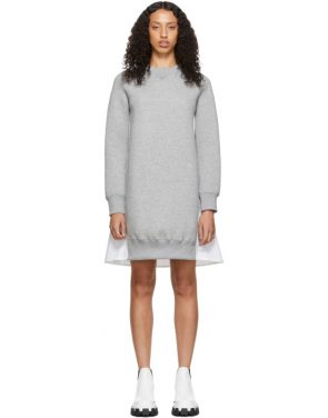 photo Grey and White Sponge Sweatshirt Dress by Sacai - Image 1