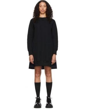 photo Black and Navy Sponge Sweatshirt Dress by Sacai - Image 1