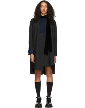 photo Black Tie Collar Shirting Dress by Sacai - Image 1