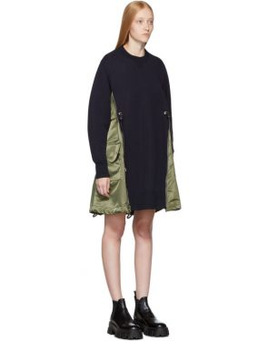 photo Navy Spongy Sweatshirt Dress by Sacai - Image 2