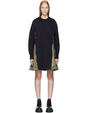 photo Navy Spongy Sweatshirt Dress by Sacai - Image 1
