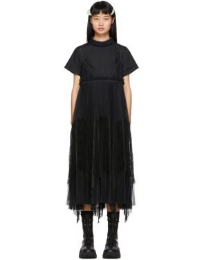 photo Black Lace Shirting Dress by Sacai - Image 1