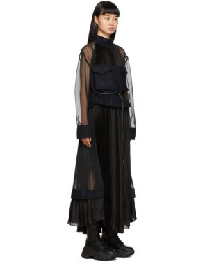 photo Black Pleated Chiffon Dress by Sacai - Image 2