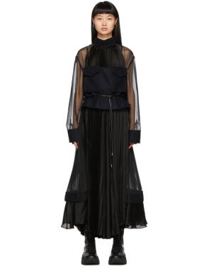photo Black Pleated Chiffon Dress by Sacai - Image 1