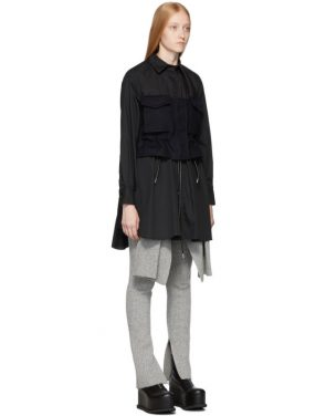 photo Black Poplin Shirt Dress by Sacai - Image 2