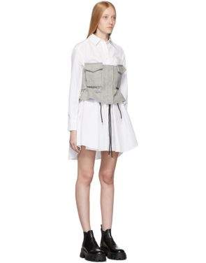 photo White and Grey Poplin Shirt Dress by Sacai - Image 2