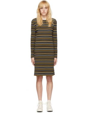 photo Navy and Brown Striped Rib Dress by 6397 - Image 1