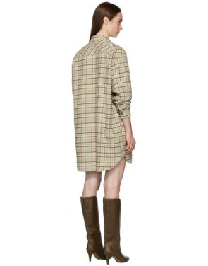 photo Green and Orange Check Iceo Pilou Dress by Isabel Marant Etoile - Image 3